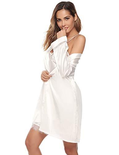 Aibrou Batas Mujer Sexy Encaje Conjuntos,Pijama de Satén Camisón Seda Elegante Cortos para Mujer Novia Dama de Honor (Blanco, M)