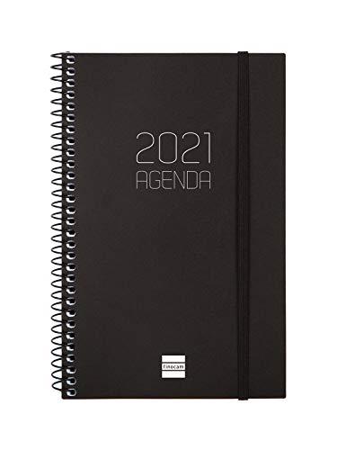 Finocam - Agenda 2021 Semana vista apaisada Espiral Opaque Negro Español - 125 x 181 mm