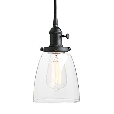 Pathson Industrial Glass Pendant Lighting, Black Vintage Style Hanging Light Fixture for Living Room Dining Room