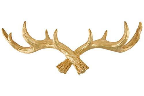 Stijlvolle kleerhaak gewei van Hansmeier - stijlvol, elegant en modern - 49 cm - decoratie hertengewei - multifunctionele haak en wanddecoratie - hoge draagkracht (Goud)