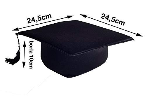Tiltextil Birrete de Graduación Adulto Unisex, Negro, Talla Única