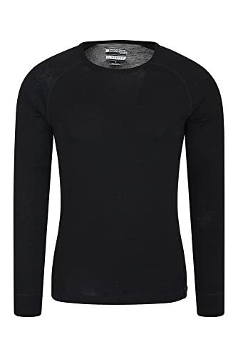 Mountain Warehouse Camiseta térmica interior de lana merina con manga larga para hombre - Camiseta ligera, camiseta antibacteriana de secado rápido, Invierno Negro L