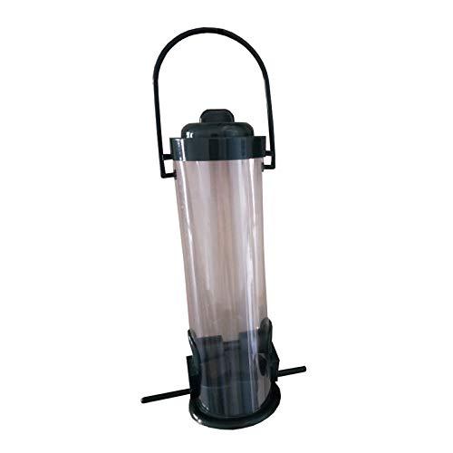Alimentador automático para pájaros colgante clásico tubular con 2 puertos de plástico rígido de alta calidad de acero resistente a la intemperie para balcón al aire libre