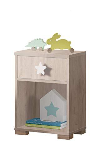 Muebles Pitarch Sweet Mesita, Aglomerado de Partículas y Melamina de Alta Densidad, Blanco Atlas/Estrella Gris, 56 x 40 x 33 cm