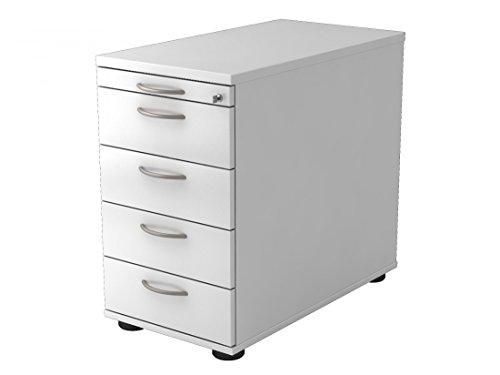 Standcontainer DR-Büro Serie VSC - 43 x 80 x 72-76 cm - 7 Farben - abschließbar - 4 Schubladen 1 Orga Schub, Farbe:Weiss