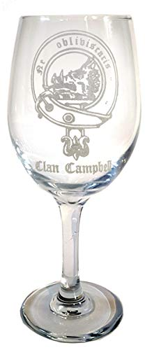 Campbell Family Scottish Clan Crest Clear Wine Glass 18oz - Free Personalized Engraving, Large Wine Glass, Celtic Decor, Scottish Wedding