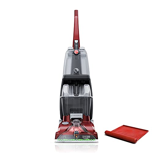 Hoover Power Scrub Deluxe Carpet Cleaner Machine, Upright Shampooer, with Storage Mat, FH50150B, Red