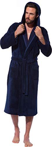 Morgenstern Bademantel mit Kapuze für Herren in Blau Hausmantel Morgenmantel Männer Baumwolle Microfaser Viskose leicht Größe XL Marc
