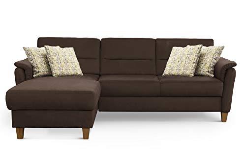 CAVADORE Ecksofa Palera / L-Form-Sofa im Landhausstil mit Federkern / 244 x 89 x 163 / Mikrofaser-Bezug, Braun