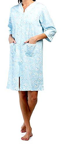 Miss Elaine French Terry Knit Zip Front Floral Robe (Light Blue Floral, X-Large)