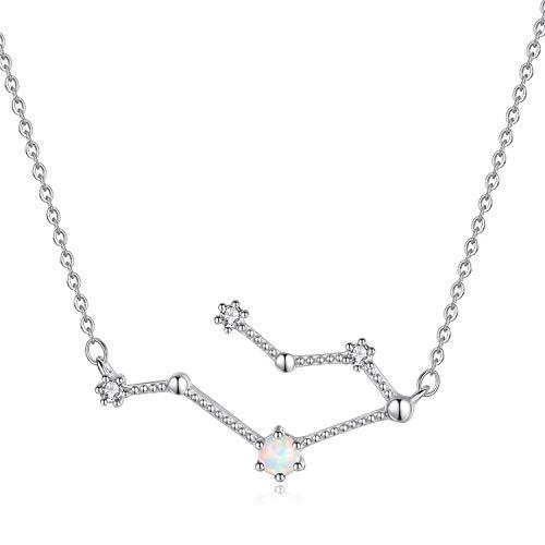 VIKI LYNN Women 925 Sterling Silver Created Opal Gemini Zodiac Necklace Star Sign Jewellery for women