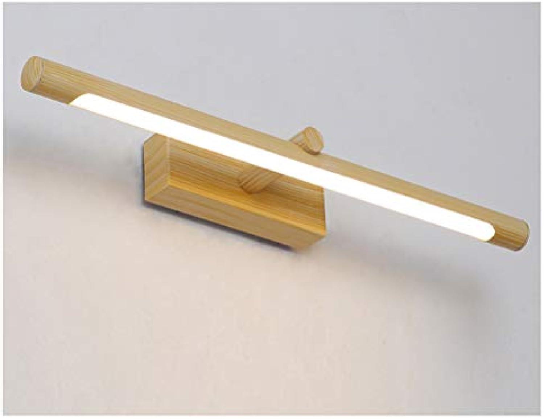 Badezimmerlampe LED-Spiegel-Scheinwerfer, Badezimmer-Studie-Spiegel-Lampe Wasserdichter Anti-Fog-Spiegel-Kabinett-Spiegel-Scheinwerfer (Farbe   Wood grain-46cm)