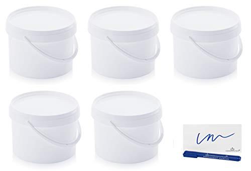 MARKESYSTEM Cubo HERMÉTICO Catering Pack de 5 X 4,4 litros-Cubos de Plástico con Tapa-Contenedores Apilables-Envasar Alimentos, Líquidos y Pinturas-Polipropileno Blanco + Kit Etiquetado
