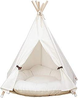 lxy hund-tipi-tält, hem och tält med spets för hund eller husdjur, avtagbar och tvättbar med matrass, vit (L)