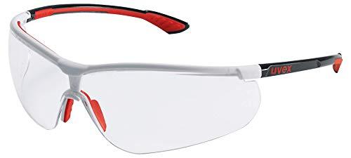 Uvex Schutzbrille sportstyle; Farbe: schwarz-rot-weiß, Scheibe: PC klar, UV-Schutz: 400