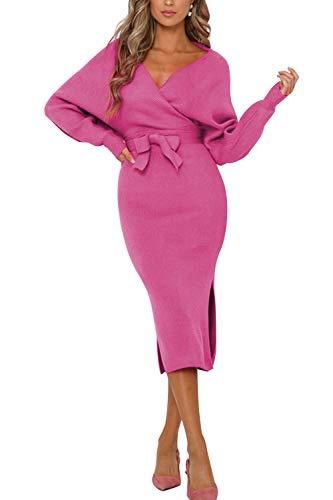 Pulloverkleid Damen Kleider Elegant Strickkleid V-Ausschnitt Langarm Tunika Kleid Minikleid Mit Gürtel (XCL-1, M)