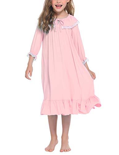 trudge Mädchen Nachthemd Kinder Schlafanzug Kleider Langarm Nachtwäsche Spitze Prinzessin Nightdress Nachtkleider,120,Rosa