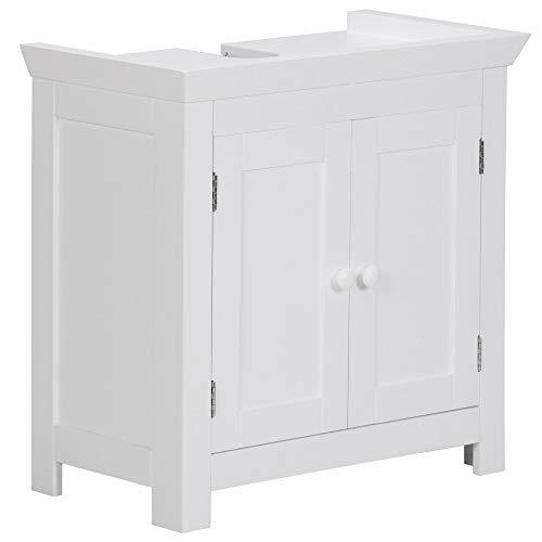 FineBuy Design Waschbeckenunterschrank FB37103 Badunterschrank mit 2 Türen Weiß | Kleiner Schrank Badezimmer 57 cm Breit | Badschrank Waschbecken Stehend | Bad Aufbewahrung | Waschtischunterschrank