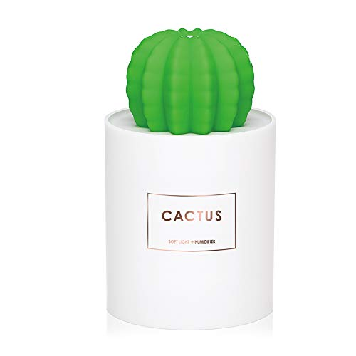 AmuseNd USB Cool Mist Humidifier with Night Light Mini Size Cactus Humidifier for Bedroom Room Home Office Car 280ml 50ml/h with Timed auto Shutdown