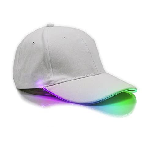 Gorra de Béisbol con Iluminación LED Paño de Algodón Transpirable Festival Glow Flashing Light Up Sombrero para Club Party Hip-Hop Deportes Hombres Mujeres-Blanco Efecto de iluminación de Color