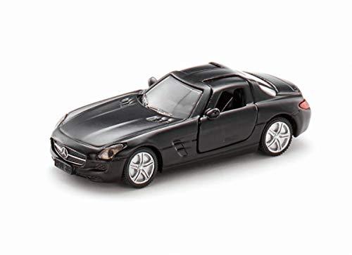 siku 1445, Mercedes-Benz SLS, Metall/Kunststoff, Schwarz, Spielzeugauto für Kinder, Öffenbare Flügeltüren