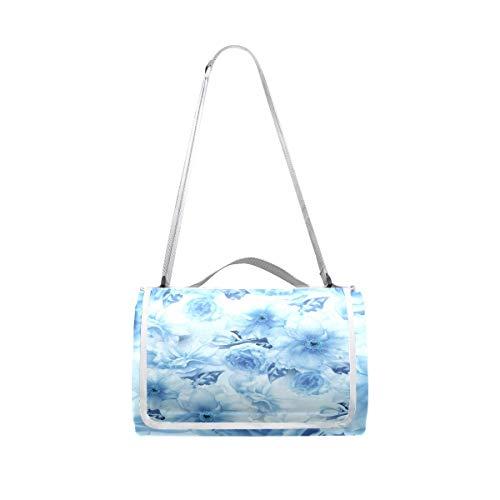 XINGAKA Manta de Picnic Impermeable,Flor de Cerezo Azul Sakura Floral Digital,Alfombra Plegable para Camping Parque