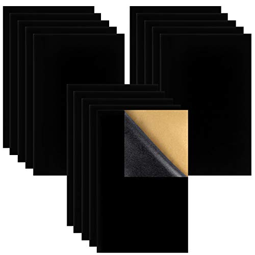 15PCS Black Velvet Fabric Sticky Back Adhesive Back Sheets, Self Adhesive Velvet Fabric for Jewelry Drawer Craft Fabric and Craft Making