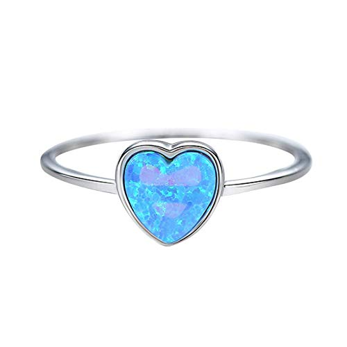 Aartoil Womens 925 Sterling Silver Ring | Blue Heart Created Opal Wedding Bands for Women Girls Blue Size R 1/2