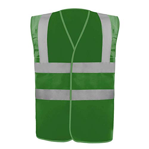 Safety Vest Reflective stripes Safety knitted Vest Bright Construction Workwear for men and women. (2XL, Dark Green)