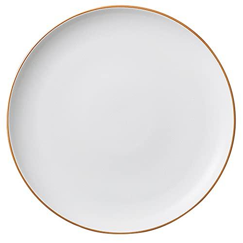 Plato de cena de cerámica con borde dorado, vajilla rústica moderna, apto para microondas, horno y lavavajillas, platos de porcelana de cocina para servir (7.8 pulgadas / 9.3 pulgadas / 10.5 pulgada