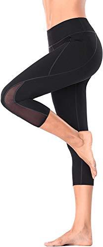 Anwell Tummy Control Workout Leggings mesh Sporthose Hohe Taille Slim Leggings Bauchweg Leggins Damen Schwarz L