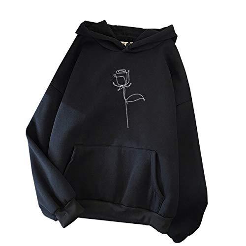 Blivener Sudadera con capucha para mujer, casual, rosa, estampado, manga larga, con bolsillos Negro M