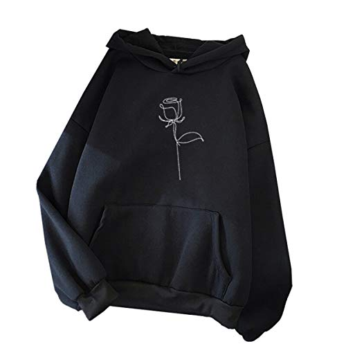 Blivener Sudadera con capucha para mujer, casual, rosa, estampado, manga larga, con bolsillos Negro S