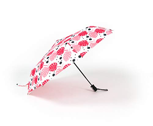 Sage & Emily Compact Umbrella, Pink Palm Leaves, One Size