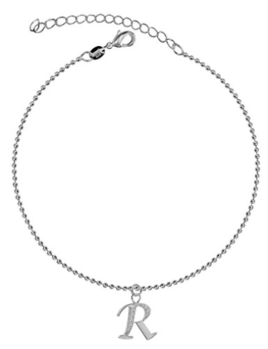 Dangle Anklet with Silver Letter R, Easy to Wear, Suitable for Everyday Use, Made from High Quality Cubic Zirconia Crystals, 21cm Link with 5cm Extension