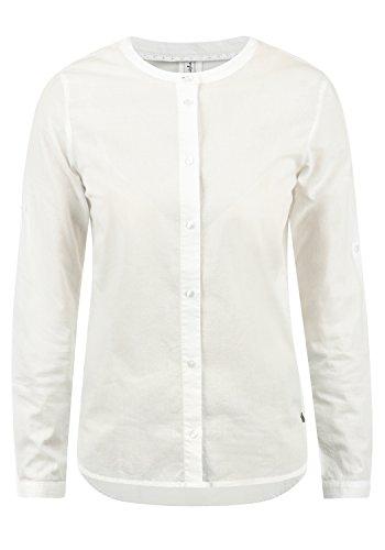 BlendShe Alexa Damen Lange Bluse Hemdbluse Langarm Mit Streifen-Muster Und Rundhals Aus 100% Baumwolle Loose Fit, Größe:XL, Farbe:Snow White (20006)