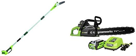 Greenworks 8' 40V Cordless Pole Saw, Battery Not Included 20302 with 14-Inch 40V Cordless Chainsaw, 2.0 AH Battery Included CS40L210