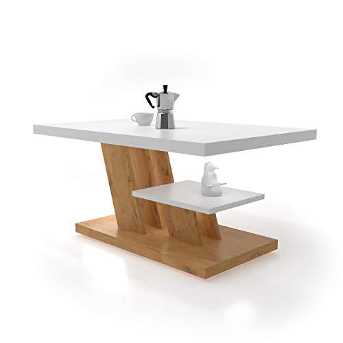 CYNTIA - Mesa de Centro - Mesa Centro - Mesa Comedor 90x60x45cm - Mesa de café - mesita Salon con un Estante - Muebles Salon Elegante - Mesa Salon - Moderno y Elegante (Lancelot - Blanco)