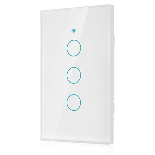 Panel de interruptores WiFi, Interruptor de Tiempo Abs V0 Material ignífugo con retroiluminación LED Interruptor WiFi a Prueba de Golpes a(White, U.S. regulations)