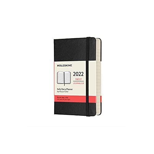 Moleskine Agenda Giornaliera 12 Mesi 2022, Daily Planner 2022, Copertina Rigida e Chiusura ad Elastico, Formato Pocket 9 x 14 cm, Colore Nero, 400 Pagine