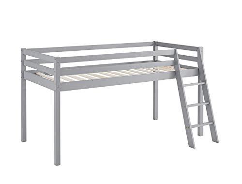 Home Detail Children's Wooden Mid-Sleeper Bunk Bed Kids Cabin Bed Frame with Ladder (Light Grey)