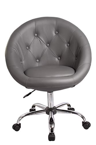 Duhome Elegant Lifestyle Schicker Rollhocker/Arbeitshocker/Bürostuhl in Grau - Hocker Drehstuhl Typ 509B