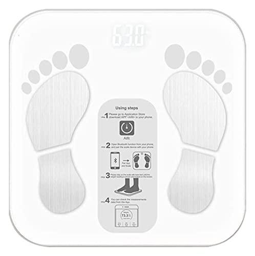 M3 Decorium Bluetooth Smart Bathroom Scales 180kg / 400lbs Escala de Grasa Corporal con 18 Datos funcionales para el Peso Corporal del Agua Gorda BMI Músculo (Color : White)