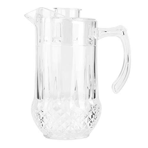 Oumefar Jarra de Agua de 1300 ml Jarra Transparente acrílica con Tapa y asa Hervidor de Agua de Gran Capacidad Té Cerveza Jugo Jarra de Bebida Jarra de Agua fría Caliente para Bar Hogar