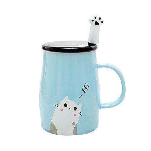 Binoster Niedliche Katzen-Tasse Keramische Kaffeetasse mit Kitty Edelstahllöffel, Hi ~ Neuheit-Kaffeetasse Geschenk für Katzenliebhaber Rosa (Blau)