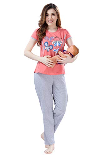 AV2 Women Cotton Graphic Feeding/Nursing/Maternity Top & Pyjama Set Orange Large 2688
