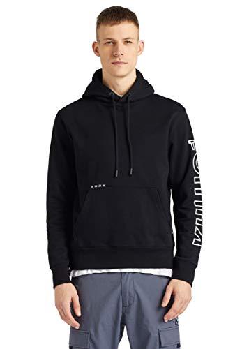khujo Herren Sweatshirt Rodney Logo Baumwolle Kapuze Hoodie Print Kängurutasche