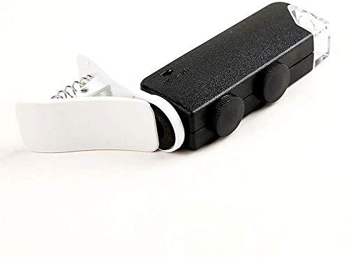 HZXH07 Tragbare Lupe 60-100 Zeiten hohe Vergrößerung Vergrößerungsglas-Mikroskop mit LED-Licht Handy-Clip-Art bewegliches Mikroskop Schwarz