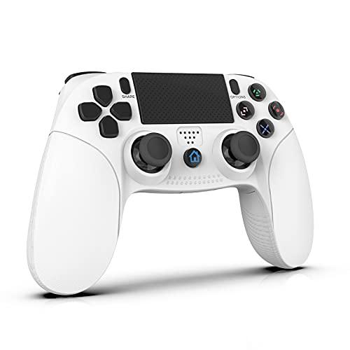 SANYEE PS4 コントローラー 最新バージョン 500mAh Bluetooth リンク遅延なしジャイロセンサー機能 イヤホンジャック ゲームパット 二重振動 高耐久ボタン PS4 コントローラー 日本語取扱説明書(ホワイト)