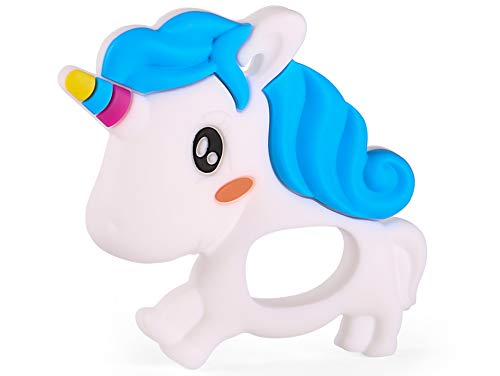 PREMYO Mordedor Bebé Silicona - Anillo de Dentición Aro de Agarrar - Alivia Dolor Libre de BPA Unicornio Blanco Azul